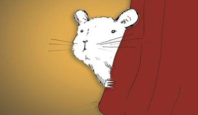 illustration of Skip the mouse peeping from behind a stage curtain