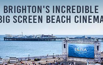 Image of Luna Beach Cinema with the Palace Pier in the background