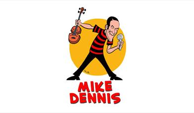 cartoon image of Mike Dennis with microphone and a violin