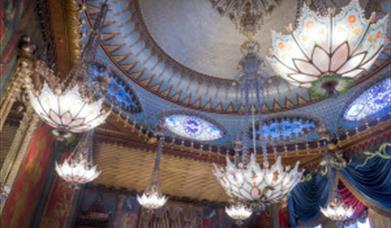 Royal Pavilion Music Room ceiling with chandeliers