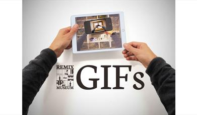 person holding an ipad out with Remix GIFs written underneath