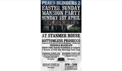 Peaky Blinders Easter Sunday Cabaret Mansion Party